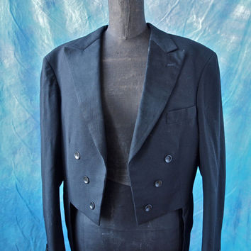 Gerhard Skusa Amazing 30's Tails Wedding Groom Tuxedo Jacket Vienna Black Art Deco Buttons