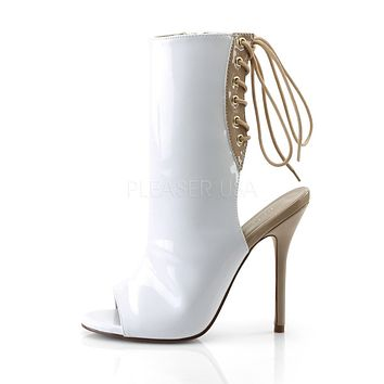 "Amuse 1018 White Patent Shoe Ankle Boots - 5"" High Heels Shoes"