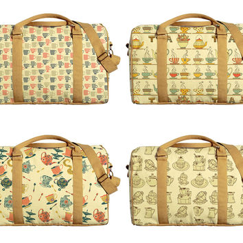 Tea Pots Pattern Printed Oversized Canvas Duffle Luggage Travel Bag WAS_42