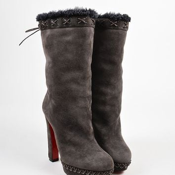 HCXX Christian Louboutin Brown Suede Shearling Platform   Step N Roll   Boots