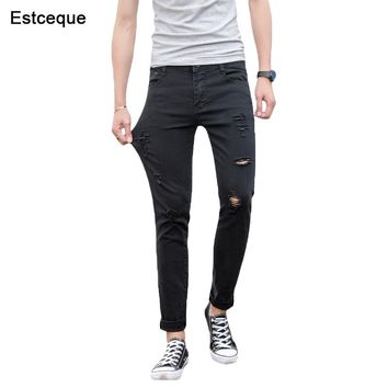 Jeans Men 2018 New Summer Straight Slim Distressed Stretch Jeans Male Denim Pants Ripped Design Skinny Trousers for man