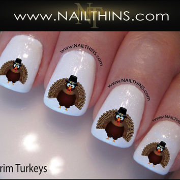 Thanksgiving Turkey Nail Decals Pilgrim Nail Design, Nail Art