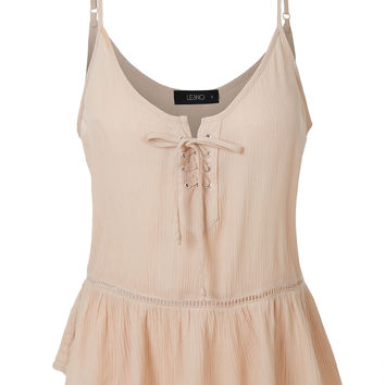 Flowy Sleeveless Lace Up Ruffle Cami Top with Adjustable Straps