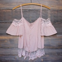 dusty pink boho off the shoulder shirt