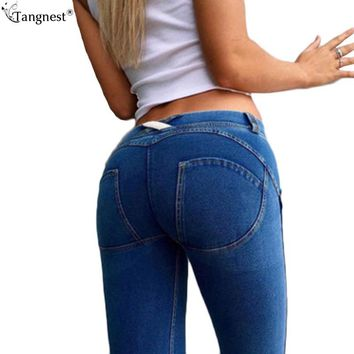 TANGNEST Elastic Waist Sexy Jegging Jeans 2017 Slim Skinny Women High Stretch Pencil Pant Push Up Denim Legging Oversized WKN444