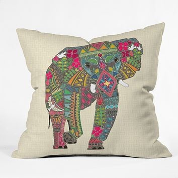 Sharon Turner Peace Elephant Throw Pillow