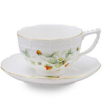 2 Strawberry Field Porcelain Tea Cups and Saucers (2 Teacups and 2 Saucers)