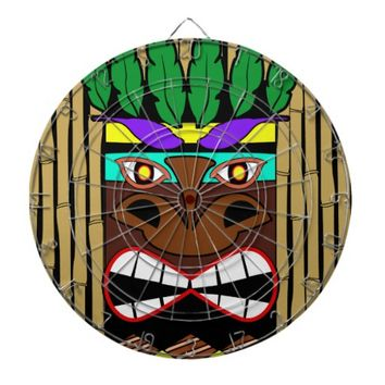 Totem With Bamboo Luau Party Dart Board