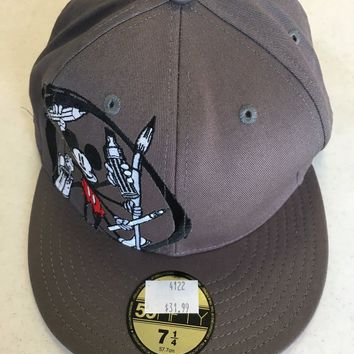 MICKEY MOUSE GRAY RETRO NEW ERA 5950 FLAT BRIM FITTED HAT