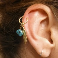 Turquoise Gold Cartilage Hoop Feather Earring Boho Tragus Helix Piercing
