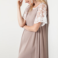 Woven Shift Dress - Mocha