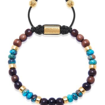 Men's Beaded Bracelet with Ebony, Bali Turquoise and Gold