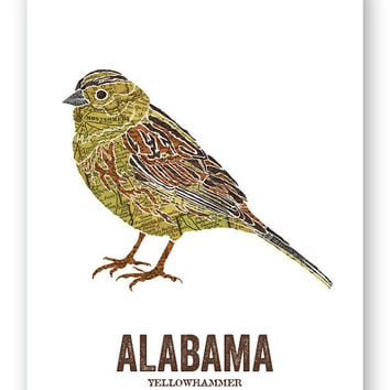 YELLOWHAMMER // Alabama State Bird, Nature Print, Vintage Map, State Poster, Folk, Rustic, Outdoor, Country, Reproduction Print