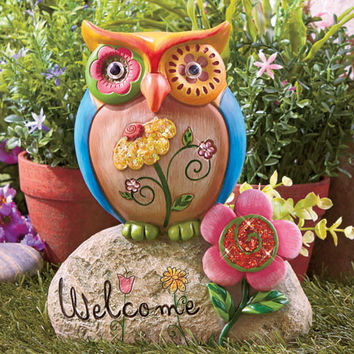 Welcome Statue Figurines Owl Ceramic Animal Totem Porch Yard Entryway