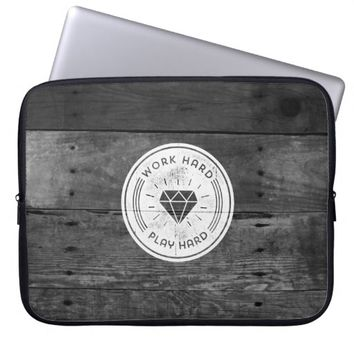 Cool Black White Vintage Wood Texture Play Hard Laptop Computer Sleeve