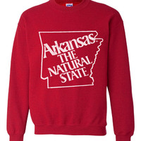 80's Vintage Arkansas The Natural State Crew Neck Sweatshirt