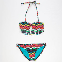 Roxy Wave Wonders Girls Fringe Bikini Black Combo  In Sizes