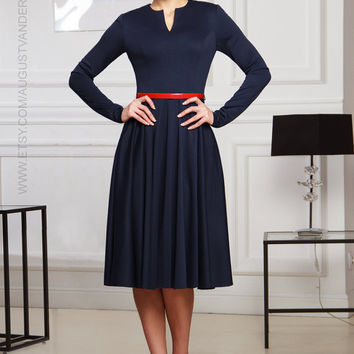 Short dress, Navy dress, knitted dress, long sleeve dress, Midi dress, elegant dress, evening dress, casual dress, winter dress, spring