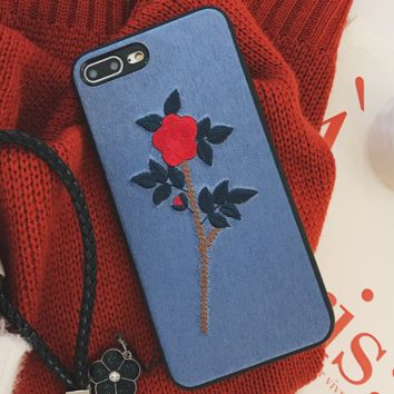 Embroidery flowers iPhon7plus phone shell lanyard iPhone6sp protective sleeve female models Apple X drop i8 soft shell Blue