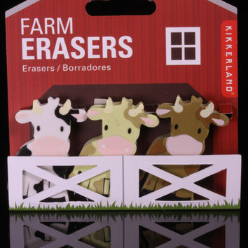 Kikkerland's Three Cows on a Farm Erasers