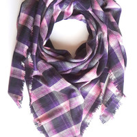 Blanket Scarf, Plaid Blanket Scarf, Gift For Her, Purple Scarves, Fall Scarf, Winter Scarf, Cotton Scarf