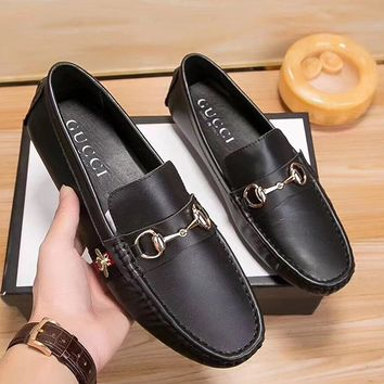 GUCCI Man Fashion Casual Shoes Leather Shoes