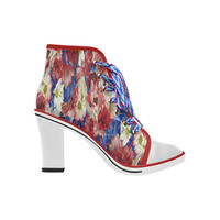 Red White Blue Flora Women's Lace Up Chunky Heel Ankle Booties (Model 054) | ID: D2317310