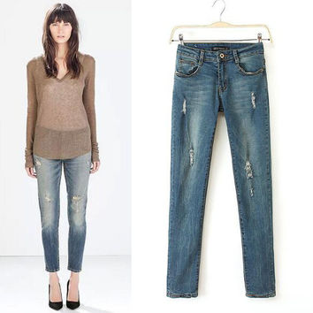 Ripped Holes Cats Rinsed Denim Skinny Pants Pen Pants Jeans [4919610052]