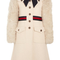 Gucci - Faux shearling-paneled cotton-blend tweed coat
