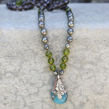 Peridot and Smoky Quartz 'Good Luck and Protection' Hand Knotted Mala Necklace