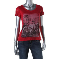 Style & Co. Womens Petites Slub Short Sleeves Graphic Tee