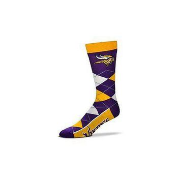 NFL Minnesota Vikings Argyle Unisex Crew Cut Socks - One Size Fits Most