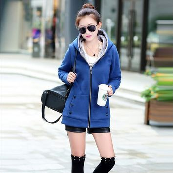 2016 Spring Autumn Dress Jackets Women Casual Hoodies Coat Cotton Sportswear Coat Hooded Warm Jackets colors large size 3xl 4xl