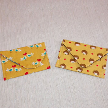 Card Wallet Happy Yellow Hedgies or Lovebirds Your Choice of One