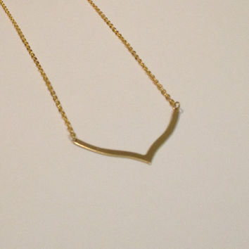 Geometric necklace, chevron necklace, arrow necklace, curved necklace
