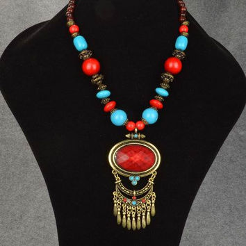 Sekmet's Ward Red &Turquoise Beaded Elaborate Huge Bronze Egyptian Cleopatra Pharoah Collar Carved Maroon Pendant Bold Statement Necklace