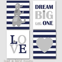 Dream big little one, Set of 4 prints, Elephant wall art, navy blue grey nursery decor, baby boy nursery printable -INSTANT DOWNLOAD