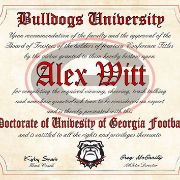 "Georgia Bulldogs Ultimate Football Fan Personalized Diploma - Perfect Gift -8.5"" x 11"" Parchment Paper"