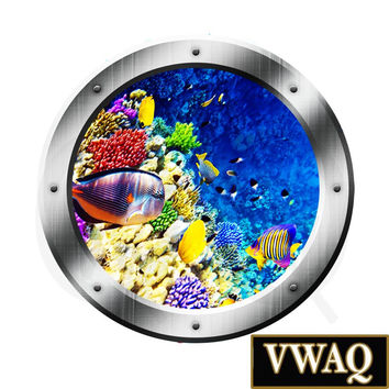 Coral Reef Underwater Porthole Window Ocean Life Mural Decal Kids Room Sticker Wall Art VWAQ® PO22
