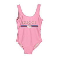 GUCCI Fashion New Women Popular Summer Beach Letter Print Vest Style U Collar One Piece Bikini Swimwear Bathing(7-Color) Pink I-ZDY-AK