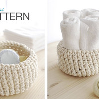 Crochet PATTERN: Rope bowl - adjustable size - INSTANT DOWNLOAD