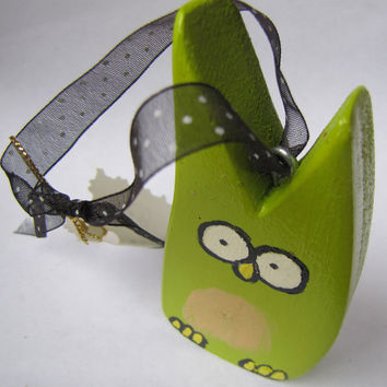 Lucky Owl Ornament Art Door Hanger by andralynn on Etsy