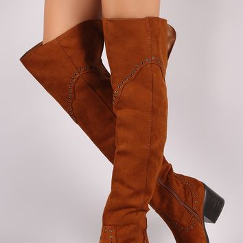 Chunky Heel OTK Boots For Women By Bamboo | Women Fashion Grommet Western Over the Knee Boots Almond toe And Chunky Heel Vegan Leather Mid Shaft Inner Side Adjustable Zipper