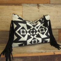 Knotted Fringe Geometric Pendleton Clutch
