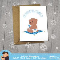 Congratulations New Baby Boy, Teddy Bear,  Approximately 5 x 7 Blank Card, Choose Your Color,  Newborn Announcement, Baby Shower, Baby Boy