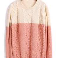 Soft Spoken Color Block Knit Sweater in Strawberry & Cream | Sincerely Sweet Boutique