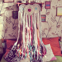Boho Chic Dream Catcher - Colorful Ombre Dreamcatcher -Junk Gypsy Wall Hanging - Bohemian Bedroom Decor - Made To Order
