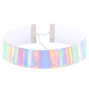 KMVEXO Trendy Holographic Choker Necklace Women 2018 New PU Leather Chocker Handmade Laser Chocker Rainbow Punk Gothic Necklace