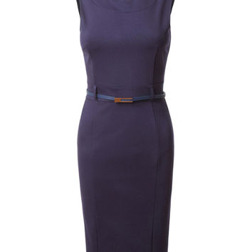 LE3NO Womens Fitted Summer Midi Dress with Belt