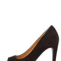 Chinese Laundry Hypnotize Black Suede Peep Toe Platform Pumps